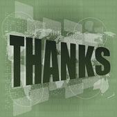 Thank you - thanks word on digital screen - social — Stock Photo