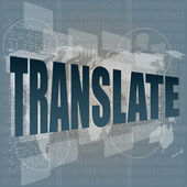 Business concept: words translate on digital screen — Stock Photo