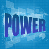 Learn concept: words power on digital screen — Stock Photo