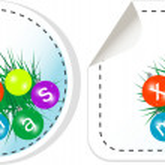Set christmas balls icon label stickers — Stock Photo