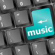 Computer keyboard with music key - technology background — Foto Stock