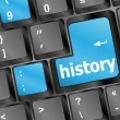 Stock Photo: Laptop keyboard and key history on it