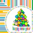 Christmas card with holiday tree and new year balls — Foto Stock