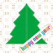 Stock Photo: New year and christmas tree applique on vintage background