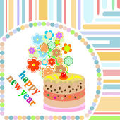 Christmas card background. new year cake and flowers — Stock Photo