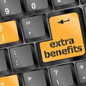 Botón de beneficios adicionales en el teclado - concepto del negocio — Foto de Stock