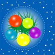 Stock Photo: Christmas background with baubles and christmas fir