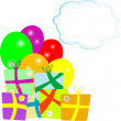 Stock Photo: New year holiday gift box and balloons with empty cloud