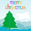 Christmas card with tree and abstract cloud - holiday card — Stock fotografie