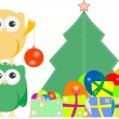 Owl family with christmas tree, balls, balloons and gift boxes — Stock Photo #16332593