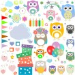 Stock Photo: Set of birthday party elements with cute owls