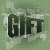 Gift word on digital screen - holiday concept — Stock Photo