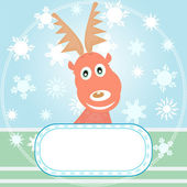 Christmas rudolph with winter background — Stock Photo