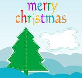 Cartolina di natale con albero e nuvola astratta - card di auguri — Foto Stock