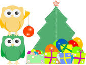 Owl family with christmas tree, balls, balloons and gift boxes — Stock Photo