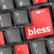 Stock Photo: Bless keyboard button on computer pc
