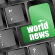 World news key on keyboard concept - Stok fotoğraf