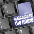 Social media key with welcome to the future text on laptop — Stock Photo