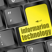 Key with information technology text on laptop keyboard — Stock Photo