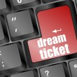 Dream ticket button showing concept of idea on keyboard, creativity and success — Stockfoto