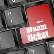 Dream ticket button showing concept of idea on keyboard, creativity and success — Stock Photo