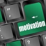 Computer keyboard - green key motivation, business concept — Stock Photo
