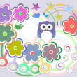 Seamless pattern with birds owls and flowers — Foto Stock