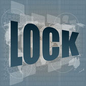 Business concept lock word on digital screen with world map — Stock Photo