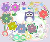 Seamless pattern with birds owls and flowers — Stockfoto