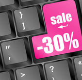 Shopping on-line, red key sale on keyboard — Stok fotoğraf
