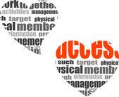 бизнес-концепция. социальной и информационной слово коллаж в форме сердца — Стоковое фото