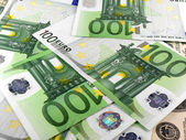 Background with different european union banknotes — Stok fotoğraf