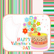Cup cake with flowers on valentines invitation card — Stock Photo