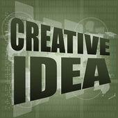 Creative idea words on digital screen. business concept — Stock Photo