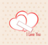 Postal to the day of saint valentine with pair of heart — Stock Photo