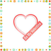 Be my valentine. red heart with flowers on frame — Stock fotografie