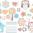Stock Photo: Set - owls, birds, flowers, butterflies, ladybugs, hearts, etc.