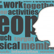 Head silhouette on word cloud. business concept — Stock Photo