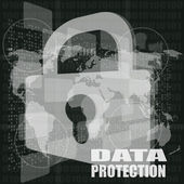 Security concept: Lock on digital screen and digital protection word — Stock Photo