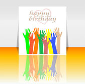 Excited hands happy birthday card design — Stock Photo