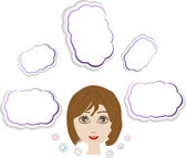 Young girl head thinking about white clouds set — Stock Photo