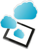 Tablet pc with abstract blue cloud sign — Stock Photo