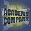 Words academy company on digital screen, business concept — Stock Photo