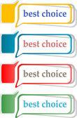 Speech bubbles set with best choice message — Stock Photo