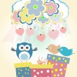 Stock Photo: Background with heart, flower, owls, gift boxes and birds