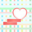 Romantic card with mosaic background and love heart — ストック写真