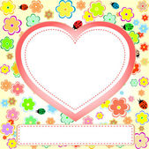 Heart valentines day background with flowers — Stock Photo