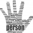 Like hand symbol with tag cloud of word — Stock Photo #18701147