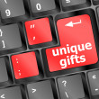 Gift concepts or buying gift online, with message on keyboard — Stock Photo #18702455