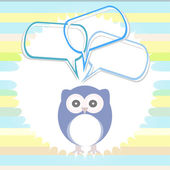 Cute card with owl and thought speech bubble — Stock Photo